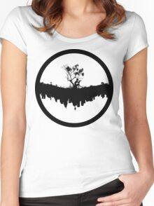 Urban Faun - Black on White Women's Fitted Scoop T-Shirt