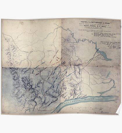 Civil War Maps 1646 Sketch of the battlefield of Shiloh showing the disposition of the troops under the command of Major General DC Buell on the 6th and 7th of April 1862 Poster