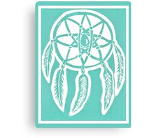 Turquoise Dreamcatcher Printmaking Art Canvas Print