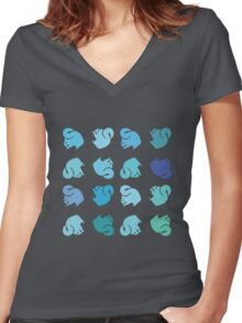 Blue Squirrel Rainbow Women's Fitted V-Neck T-Shirt