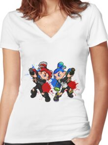 Inking Boy vs Octoling Boy Splat Women's Fitted V-Neck T-Shirt