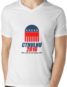 Cthulhu 2016 - why vote for the LESSER evil? Lovecraft Mens V-Neck T-Shirt