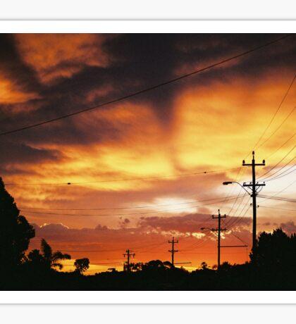 Firey Sunset Streetscape Sticker