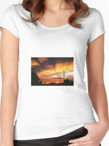 Firey Sunset Streetscape Women's Fitted Scoop T-Shirt
