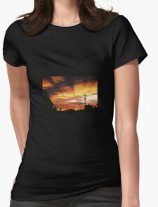 Firey Sunset Streetscape Womens Fitted T-Shirt