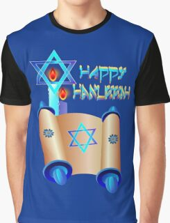 Happy Hanukkah-Torah Graphic T-Shirt