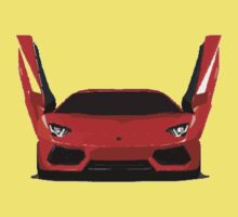 Lamborghini Aventador Cartoon One Piece - Short Sleeve
