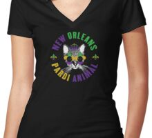 New Orleans Pardi Animal (Mardi Gras) Women's Fitted V-Neck T-Shirt