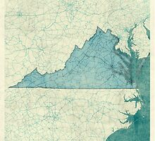 Virginia Map Blue Vintage by HubertRoguski