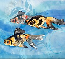 Three Watercolor Fantail Goldfish by Elaine Plesser