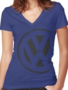 Volkswagen Logo Old School Women's Fitted V-Neck T-Shirt