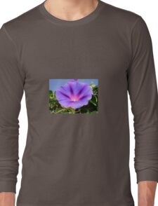 Purple Colored Morning Glory Flower Garden Background  Long Sleeve T-Shirt