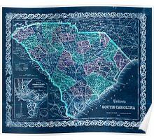 Civil War Maps 0315 Colton's South Carolina Inverted Poster