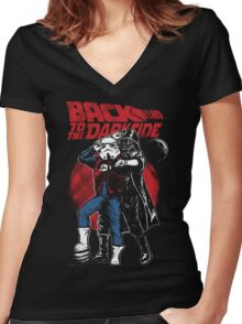 Star Wars & Back to the future - Back to the darkside Women's Fitted V-Neck T-Shirt