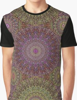 Colorful Hippie Mandala Pattern on Dark Graphic T-Shirt