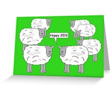 Sheep standing in a field with one of them saying, 'Happy 2016'. Greeting Card