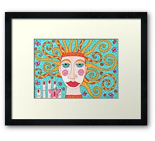 Ginger butterfly fairy with blue-green eyes Framed Print