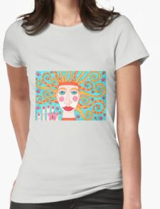 Ginger butterfly fairy with blue-green eyes Womens Fitted T-Shirt