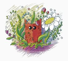 Red Cat in Flowers One Piece - Short Sleeve