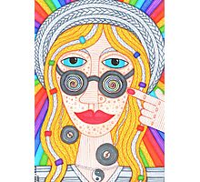 Hippie girl in hat and rainbow Photographic Print