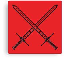 Crossed Sword Tattoo Design - Black on Red Canvas Print