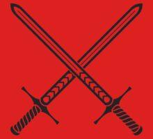 Crossed Sword Tattoo Design - Black on Red Baby Tee