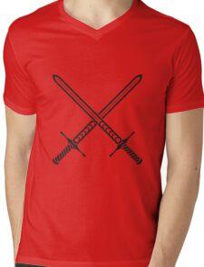 Crossed Sword Tattoo Design - Black on Red Mens V-Neck T-Shirt