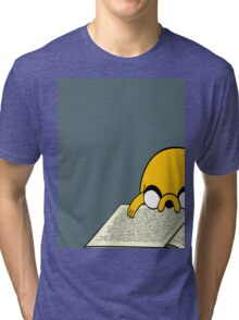 Jake Reading a Giant Book - AdventureTime! Tri-blend T-Shirt