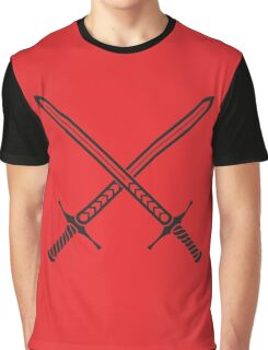 Crossed Sword Tattoo Design - Black on Red Graphic T-Shirt