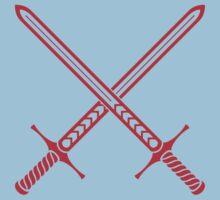 Crossed Swords Tattoo Design - Red Kids Tee