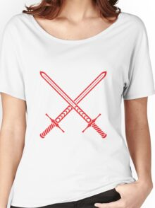 Crossed Swords Tattoo Design - Red Women's Relaxed Fit T-Shirt