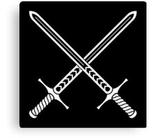 Crossed Swords Tattoo Design - White on Black Canvas Print
