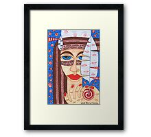 Native American Indian girl with falcon feather Framed Print