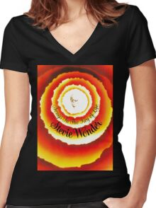 Songs In The key Of Life stevie wonder Tour AMR (1) Women's Fitted V-Neck T-Shirt