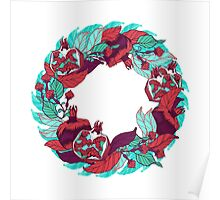 Pomegranates wreath in bright colors Poster