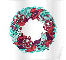 Pomegranates wreath in bright colors Poster