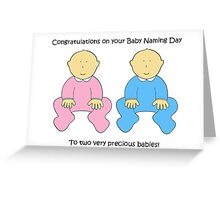 Baby Naming Day Congratulations for twins. Greeting Card