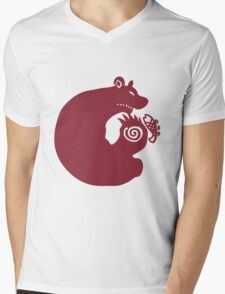The Seven Deadly Sins - The Grizzly Sin of Sloth (Red) Mens V-Neck T-Shirt