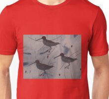 Three Abstract Woodcock - Print of Embroidered Textile Unisex T-Shirt