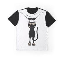 Funny Cat Hanging Around The Neck Graphic T-Shirt