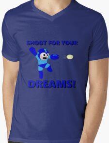 "Megaman Retro Gamer ""Shoot For Your Dreams"" Geek Aspiring Nerd Mens V-Neck T-Shirt"