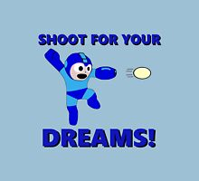 "Megaman Retro Gamer ""Shoot For Your Dreams"" Geek Aspiring Nerd Womens Fitted T-Shirt"