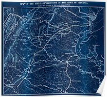 Civil War Maps 0910 Map of the field operations of the Army of Virginia during the months of July and August 1862 Inverted Poster