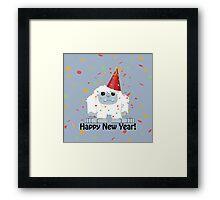 Happy New Year Yeti Framed Print