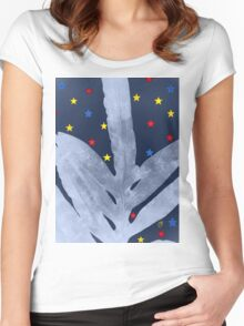 Green Fern Silver Blue with Starry Night, Stars Women's Fitted Scoop T-Shirt