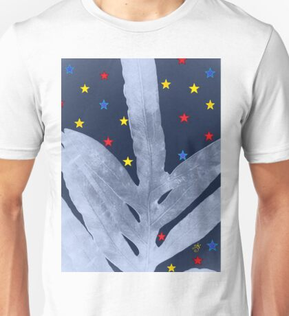 Green Fern Silver Blue with Starry Night, Stars Unisex T-Shirt