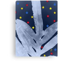 Green Fern Silver Blue with Starry Night, Stars Canvas Print