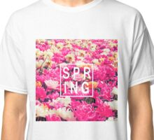 """Pretty """"Spring"""" Typography & Pink & Yellow Flowers Classic T-Shirt"""