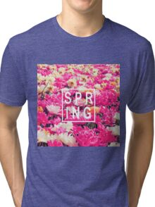 "Pretty ""Spring"" Typography & Pink & Yellow Flowers Tri-blend T-Shirt"