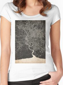 Bangkok map ink lines 2 Women's Fitted Scoop T-Shirt